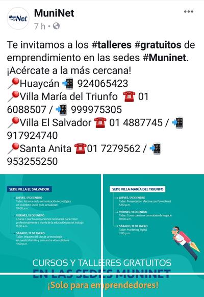 Taller de emprendimiento lima Perú