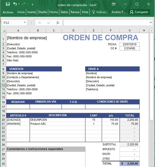 como hacer una orden de compra en Excel para descargar