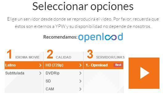 opencloud y openload en PV Cine app peliculas gratis